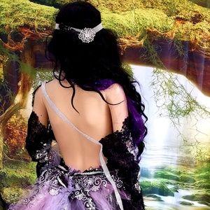GREER Black/Lavender Crystal Goth Wedding Ballgown